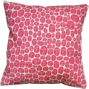Image of Happy Cushion - raspberry