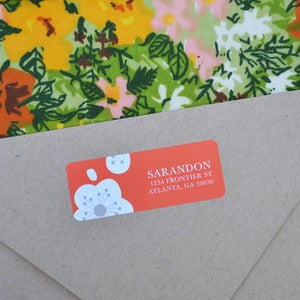 Image of Red Flowers Return Address Labels