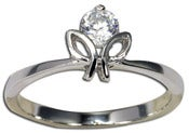 Image of CZ Flower Ring Band Promise Ring, Anniversary , Sterling Silver Summer Sale