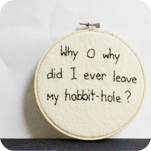Image of Hobbit Wall Art Home Decor hand embroidered black white 