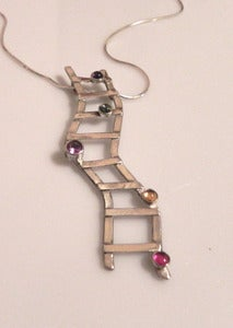 Image of Ladder Necklace with Gemstones