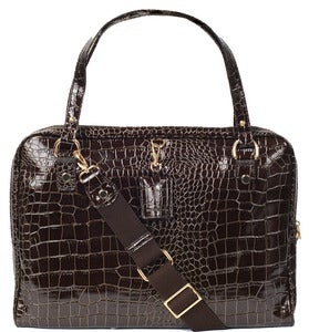 Image of Paula - Faux Croc Leather in Brown