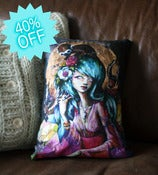 Image of Original Art &quot;The Guardian&quot; scatter feature Cushion / Throw Pillow cotton and Vintage Houndstooth Tw