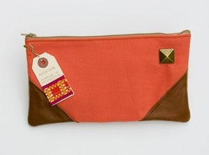 Image of - S O L D- a large zipper clutch in neon coral with leather corners