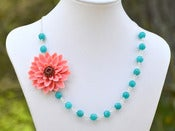 Image of Large Coral Flower and Teal Jade Beaded Asymmetrical Statement Necklace - NA045