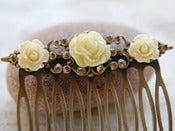 Image of Bridal Hair Comb - Roses and Rhinestones on Antique Brass or Silver Comb - ACC001