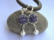 Image of Deep Purple Rose and White Swarovski Pearl Dangle Earrings - EFD020