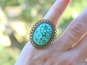 Image of Turquoise Floral Bouquet Cameo Ring in Antique Brass - Adjustable - RI001