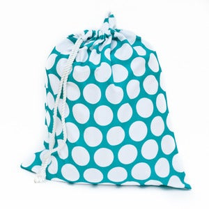 Image of Extra Large Laundry Bag for Dorm and Travel : Teal with White Polka Dots