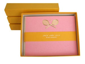 Image of JACK &amp; LULU TENNIS GOLD FLAT NOTECARDS