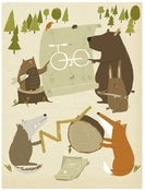 Image of ANIMALS DESIGNING A BIKE print