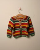 Image of c. 1980s hand knit multi stripe cardigan