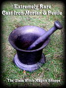 Image of Extremely Rare LARGE Antique Cast Iron Mortar & Pestle