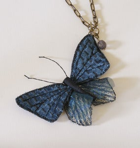 Image of Textile Jewelry Butterfly Necklace