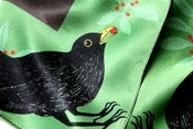 Image of Blackbird & Earthworms Silk Scarf