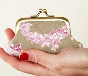Image of Rose and taupe Kitty mini purse