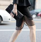 Image of Mesh Layer Black Skirt