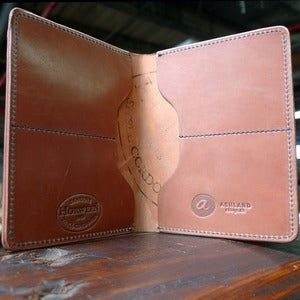 Image of Fat Herbie - Natural Shell Cordovan Wallet with Denim Thread