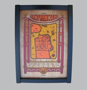 Image of san francisco map - framed