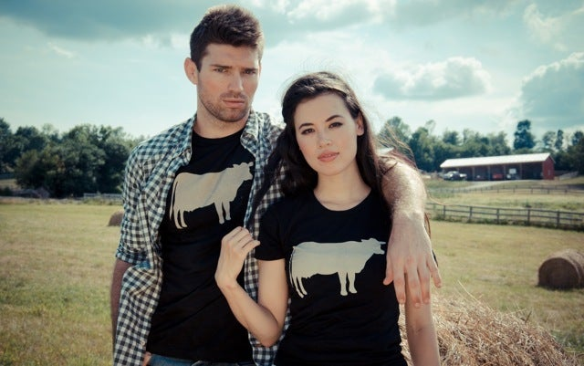 "Image of *LIMITED EDITION* GUYS JOHN BARTLETT + FARM SANCTUARY ""AMBASSADOR COLLECTION"" COW TEE"