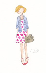 Image of Pink Polka Dot Dress & Olive Clutch - Watercolor