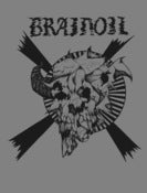 Image of Brainoil T-shirt, Jake Keeler artwork, gray with black ink