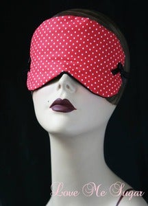 Image of Anita cotton sleep mask in red with white polkadots