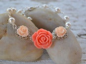 Image of Bright Coral and Peach Rose Bracelet with White Swarovski Pearls - BF001