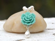 Image of Turquoise Rose and White Swarovski Pearl Teardrop Necklace - NC001