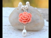 Image of Coral Orange Rose and White Swarovski Pearl Teardrop Necklace - NC003