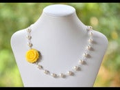 Image of Yellow Rose Asymmetrical Bridesmaids Necklace with White Swarovski Pearls - NA007