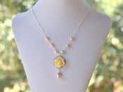 Image of Romantic Ivory Rose and Peach Swarovski Pearl Teardrop Necklace - NC004