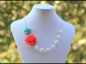 Image of Coral and Turquoise Rose Asymmetrical White Swarovski Pearl Necklace - NA008