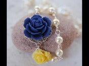 Image of Navy Blue and Yellow Rose Asymmetrical Necklace with Ivory Swarovski Pearls - NA011