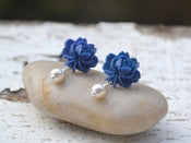 Image of Navy Blue Flower and White Pearl Stud Earrings - EFS004