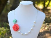 Image of Coral Rose and Minty Aqua Rose Asymmetrical Necklace w/ White Swarovski Pearls - NA017