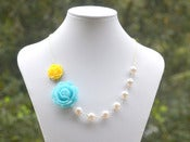 Image of Blue Rose and Yellow Rose Asymmetrical Necklace with Large White Swarovski Pearls - NA019