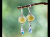Image of Ivory Garden Rose and Swarovski Crystal Earrings - EFD024
