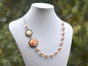 Image of Romantic Asymmetrical Peach Rose and Ivory Rose Necklace with Peach Swarovski Pearls - NA024