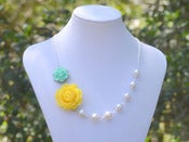 Image of Yellow and Minty Aqua Rose White Pearl Asymmetrical Chunky Statement Necklace - NA025