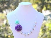 Image of Purple Rose and Minty Aqua Rose Asymmetrical Necklace with Dark Grey Swarovski Pearls - NA027
