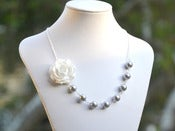 Image of White Rose and Swarovski Grey Pearl Necklace Asymmetrical Necklace - NA030