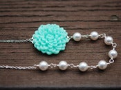 Image of Aqua Flower Bridesmaids Necklace with White Swarovski Pearls - NA031