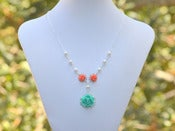 Image of Dainty Tiffany Blue Turquoise and Coral Rose Necklace with White Swarovski Pearls - NC009