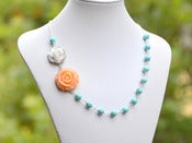 Image of Peach and White Roses in Turquoise Beaded Asymmetrical Statement Necklace - NA033