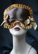 Image of MARIETTE sleep mask in Chocolate and gold with gold bows