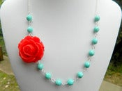 Image of Red Rose and Turquoise Asymmetrical Necklace - NA041