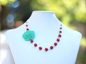 Image of Unique Turquoise Rose and Coral Red Swarovski Pearl Asymmetrical Necklace - NA047