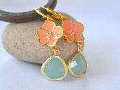 Image of Coral Orange Flower and Aqua Teardrop Dangle Earrings in Gold - EFA025