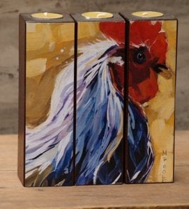 Image of 'Feather' Tealight Triptych